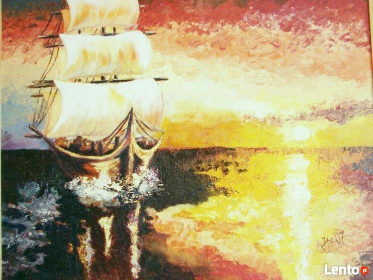 Tylko na zewnątrz Statek na morzu obraz olejny Tarnobrzeg DK72