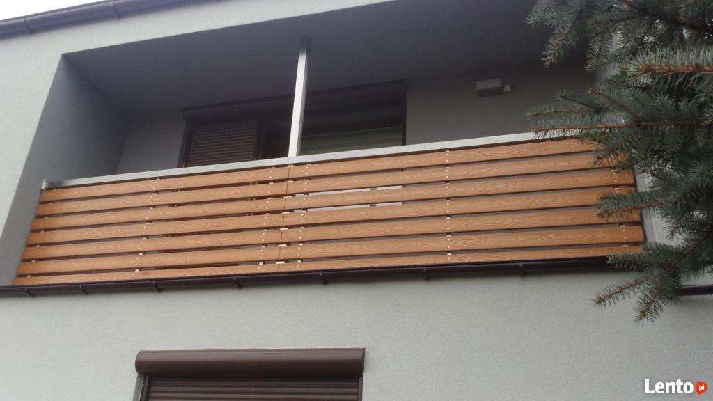 Tylko na zewnątrz Ogrodzenia balustrady z kompozytu tarasy modrzew syberyjski Warszawa MG63