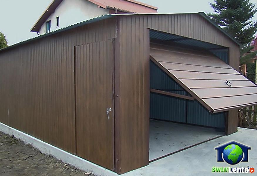 Masywnie Garaże Blaszane 4x6 ORZECH Blaszaki drewnopodobne Katowice YJ39