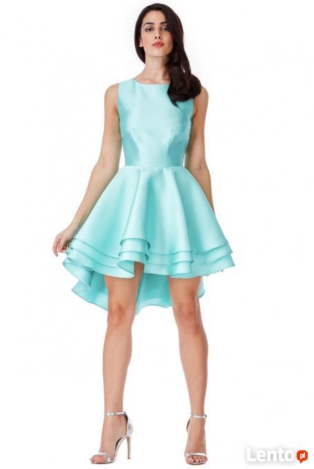 50ca5a43a1 ... Asymetryczna miętowa sukienka na wesele rozkloszowana mini - 3 ...