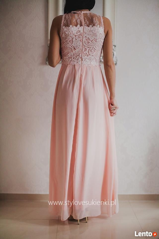 59c69fa4db Archiwalne Morelowa Długa Sukienka Dla świadkowej Z Koronkową Górą
