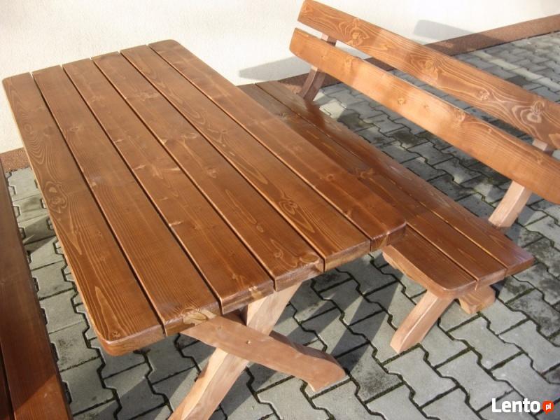 Nowy solidny komplet ogrodowy BAŁKAN świerk stół 2 ławki