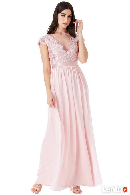 44b29edf2d Ulubione Pudrowa szyfonowa długa sukienka na wesele z głębokim dekolt  OA-27