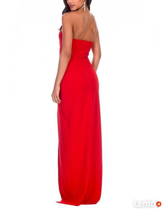 Kobieca czerwona długa sukienka z rozcięciem i gorsetem Czeladź