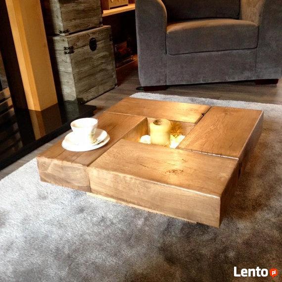 Stolik Kawowy Dębowy Lite Drewno Dębowe Klasyczne Wykonan