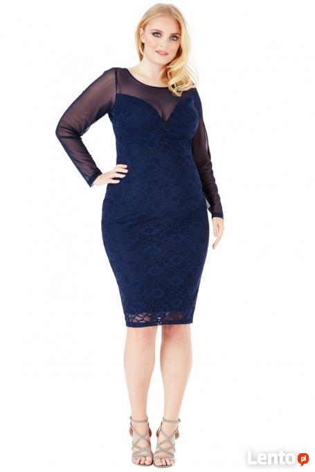 0b07416c86 Granatowa koronkowa sukienka midi z siateczkowymi rękawami Czeladź