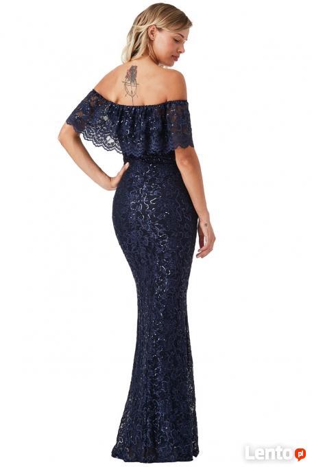 Granatowa długa sukienka koronkowa z falbaną i cekinami Czeladź