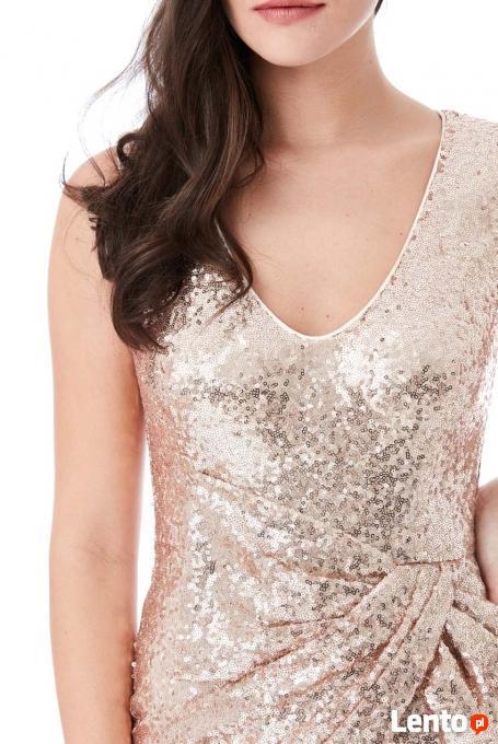 6473a5f4ce ... Długa złota cekinowa sukienka na sylwestra z marszczeniem - 3 ...