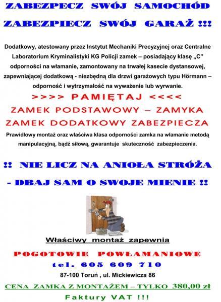Awaryjne otwieranie samochodów, naprawa stacyjek - Toruń 24h