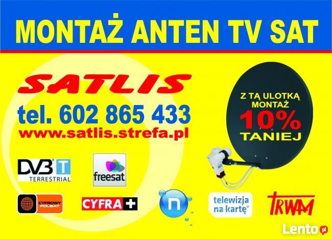 MONTAŻ ANTEN TARNÓW TV SAT DVB-T Wojnicz Radłów Pleśna