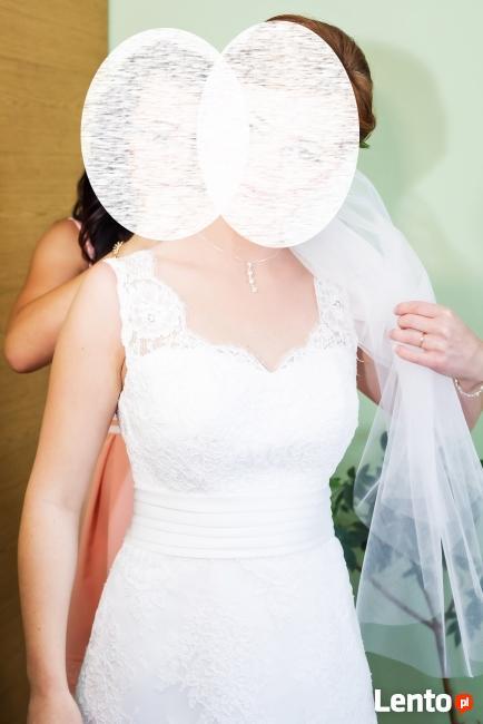 Koronkowa suknia ślubna-okazyjna cena
