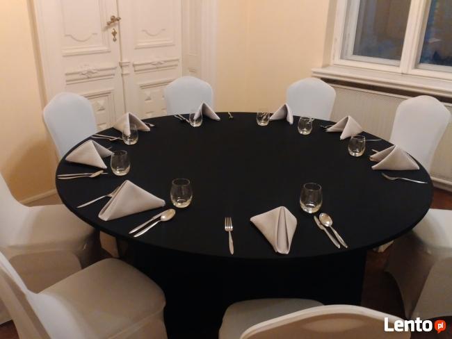 POKROWIEC ELASTYCZNY,streczowy,na stół o śr.180 cm,czarny