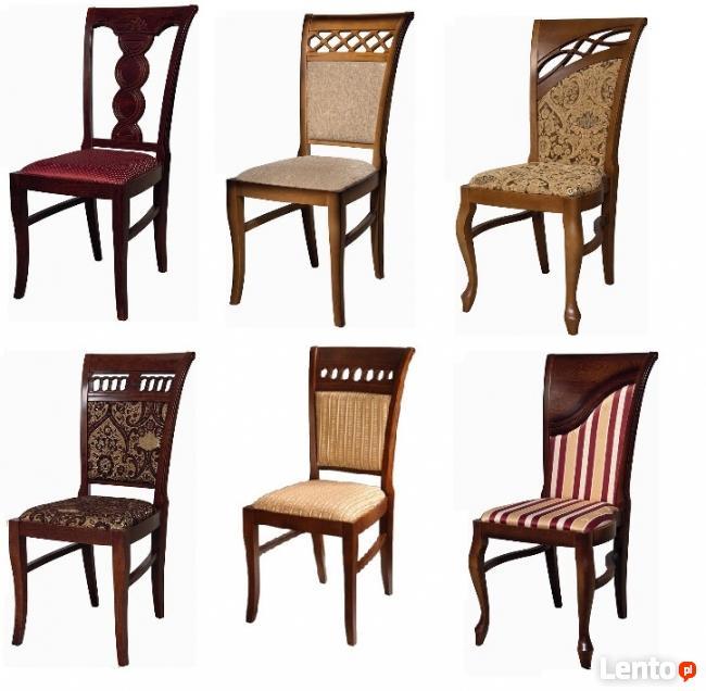 Ekskluzywne krzesła drewniane, tkaniny i kolorystyka dowolne