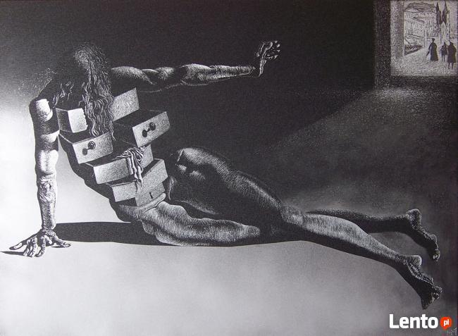 Salvador Dali Obraz ręcznie grawerowany na blasze...