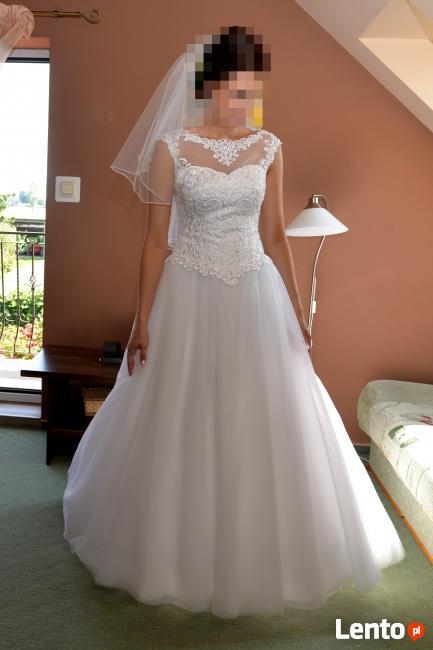 Wyjątkowa Suknia ślubna Rozmiar 38 Gorset Koronkowy Wilczyn