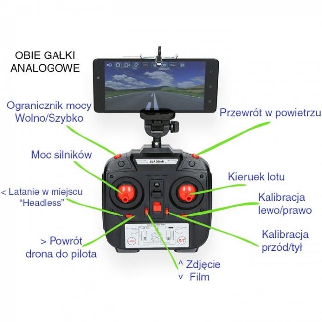 DRON GALAXY QUADROCOPTER RC Z KAMERĄ WiFi FPV ŻYWO DUŻY