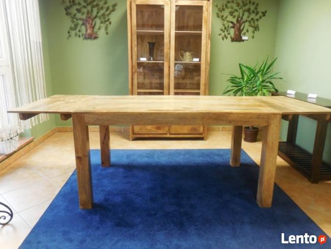 drewniany rozkładany stół nogi proste meble kolonialne mango