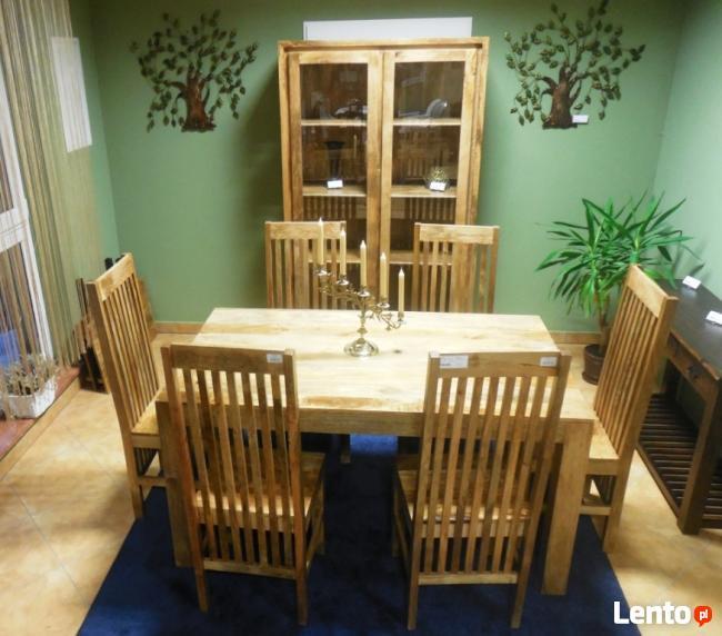 drewniany rozkładany stół+6 krzeseł komplet meble kolonialne