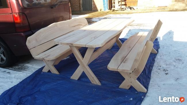 Komplet mebli ogrodowych Stół + dwie ławki
