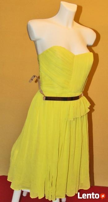 Żółta sukienka Wesele roz S 36 Mango tjulowa Wys 10zł