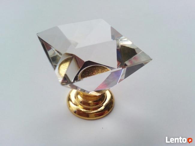 Uchwyt kryształowy do mebli - kwadrat, złota stopka