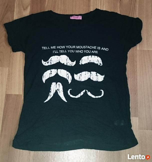 Czarna koszulka moustache L/XL, wąsy