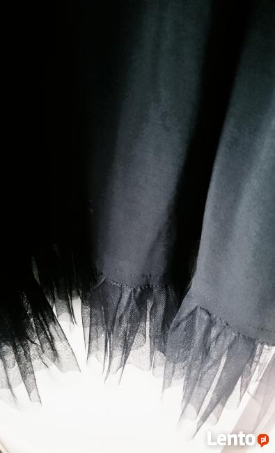 Sukienka koktajlowa, wieczorowa, czarna z połyskiem