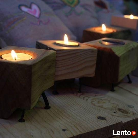 Świecznik drewniany, ręcznie robiony
