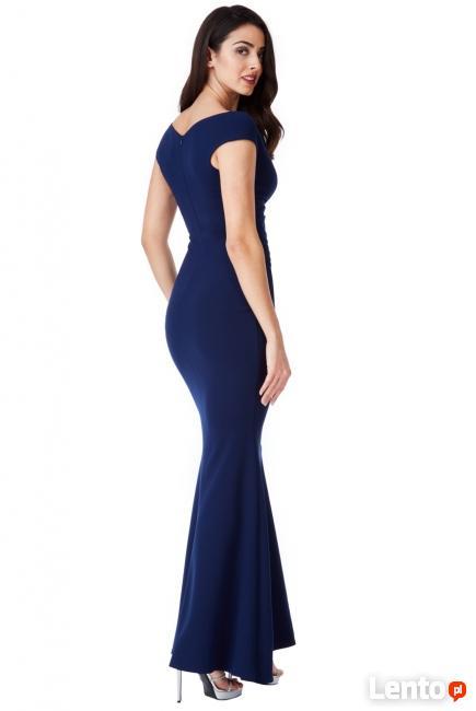 140acabf71 Archiwalne Granatowa długa sukienka na wesele z efektownym ...