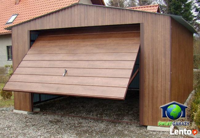 Garaże Blaszane 4x6 ORZECH Blaszaki drewnopodobne