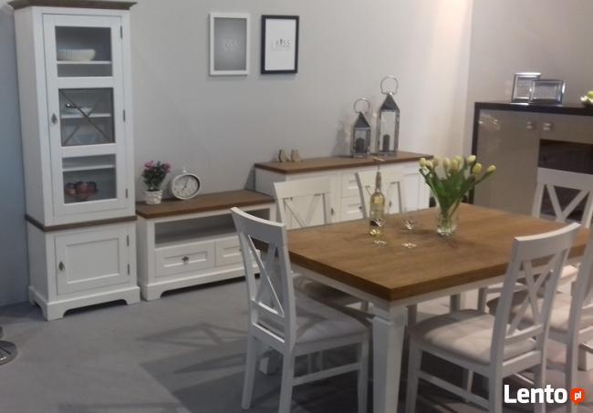 Stół wymiar dowolny, krzesła, komody białe prowansja, drewno