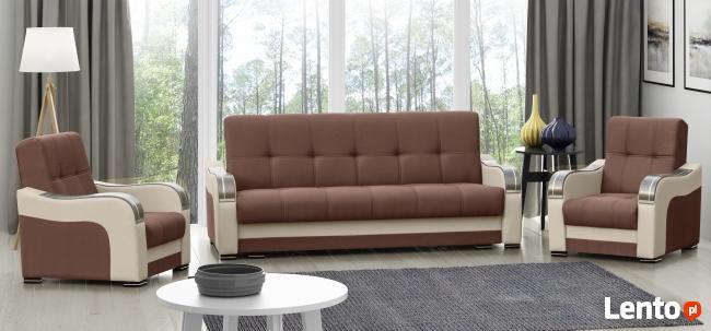 TANIO komplet ZESTAW WYPOCZYNKOWY wersalka 2 fotele drewno