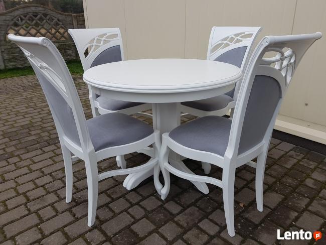 Krzesło prowansalskie tapicerowane białe Nowe