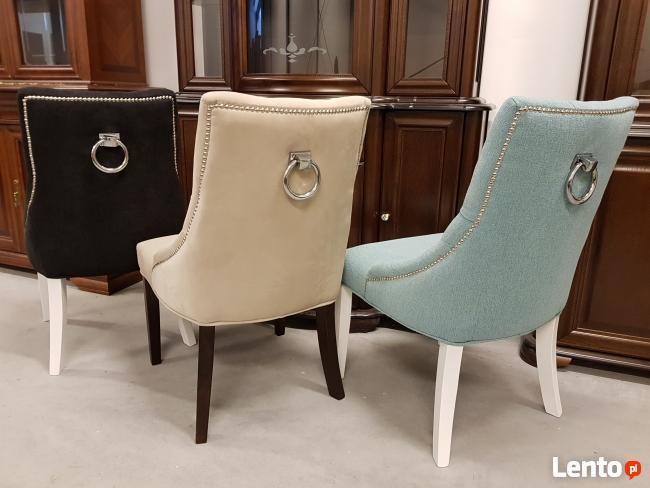 Krzesło pikowane z kołatką i pinezkami Nowe
