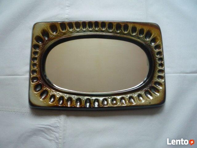 Antyk Lustro w ceramicznej ramie Oprawa - ceramika PRL