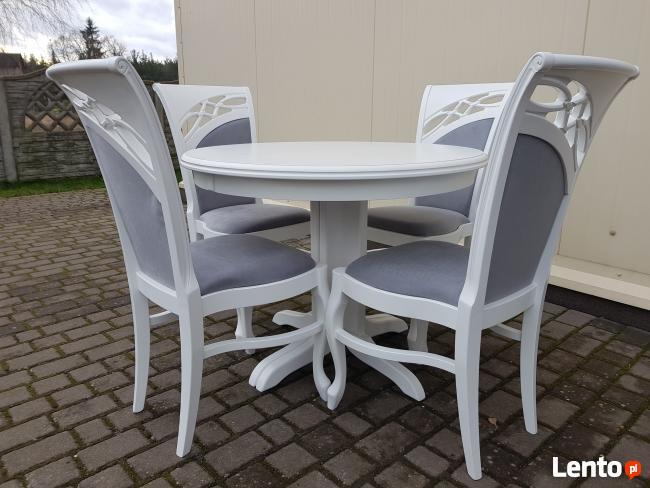 Krzesło prowansalskie tapicerowane białe do salonu jadalni