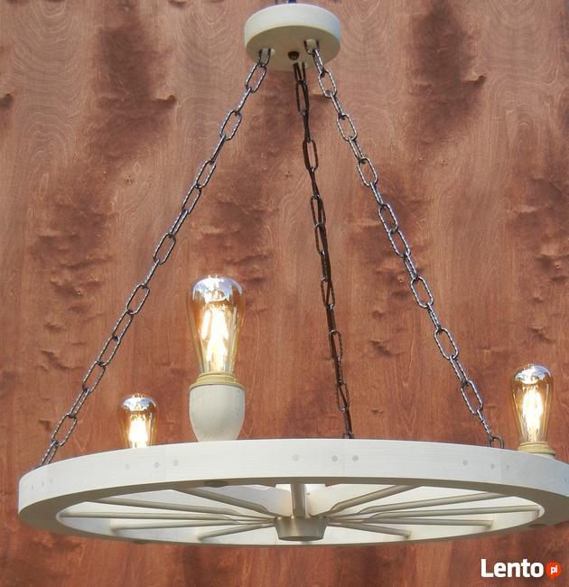 Lampa żyrandol drewniany kolo