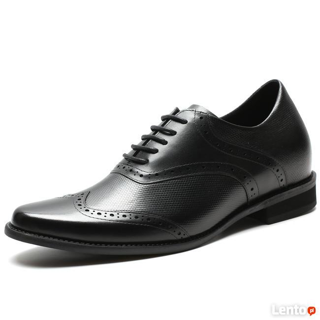 40268c2d6bf5a Ślubne buty podwyższające męskie wzrost skórzane czarne Warszawa