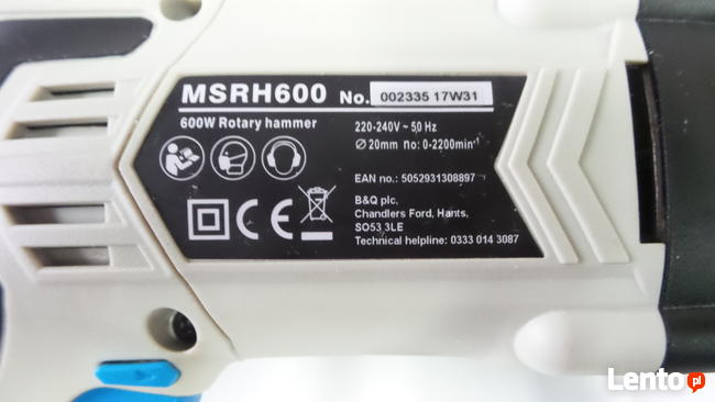 MacAllister Młotowiertarka 1,6J 600W udar MSRH600 FV wiertar