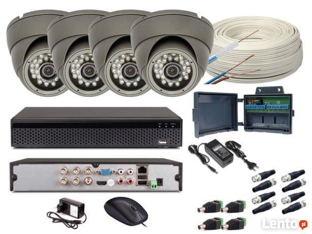 Zestaw monitoring 4 kamery HD + Zasilanie+Przewod+Akcesoria