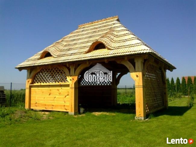 Altana drewniana ogrodowa z grillem altanka projekt cena