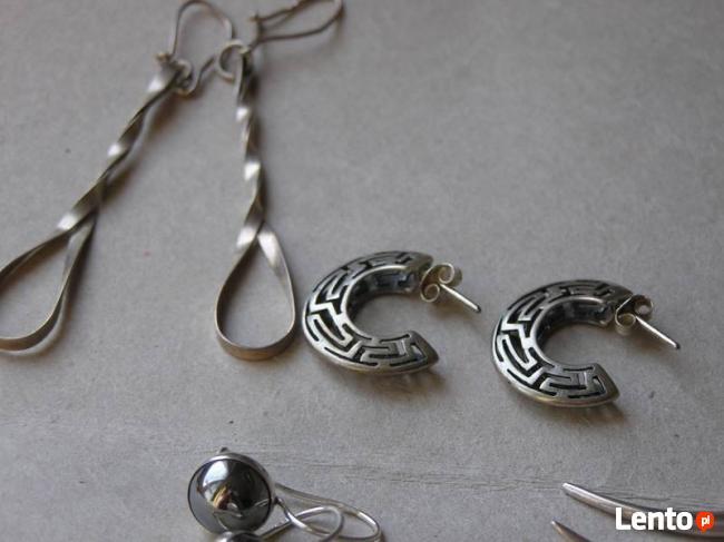 kolczyki srebro 925 WYRÓB JUBILARSKI KILKA PAR HEMATYT CYRKO