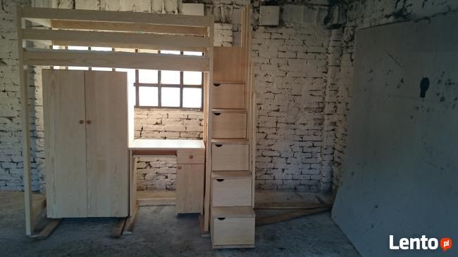 Lozko na antresoli ,schodki,biurko ,szafa