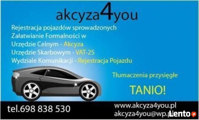 Tłumaczenia dokumentów Akcyza agencja Celna Rejestracja aut