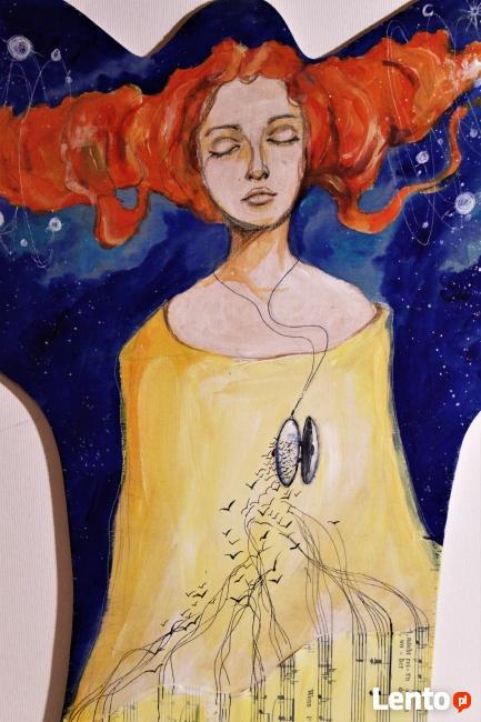 Obraz malowany na drewnie WIELOŚWIATY artystki A. Laube