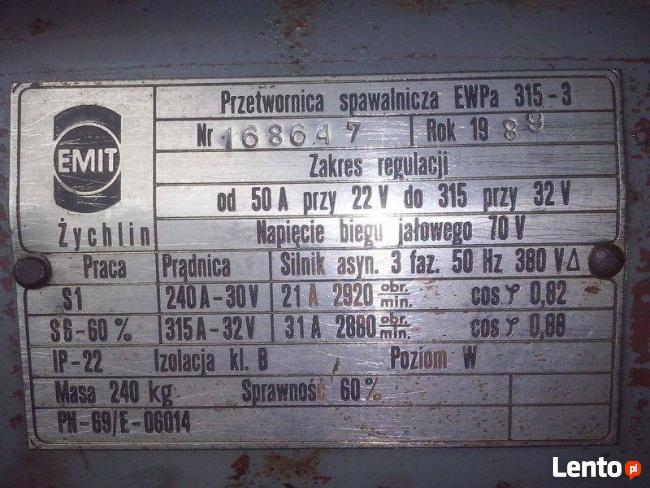 Spawarka EMIT przetwornica spawalnicza EWPa 315-3 50-315A