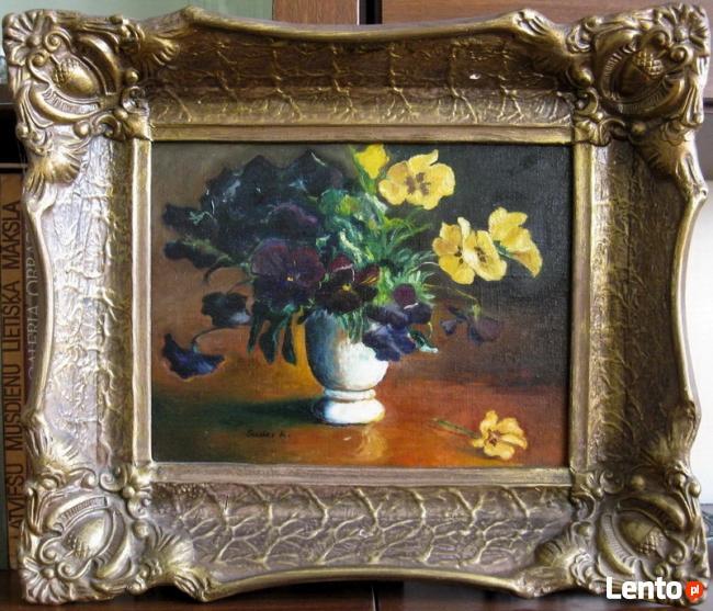 Stary obraz olejny na płótnie z ramą - Kwiaty - BRATKI
