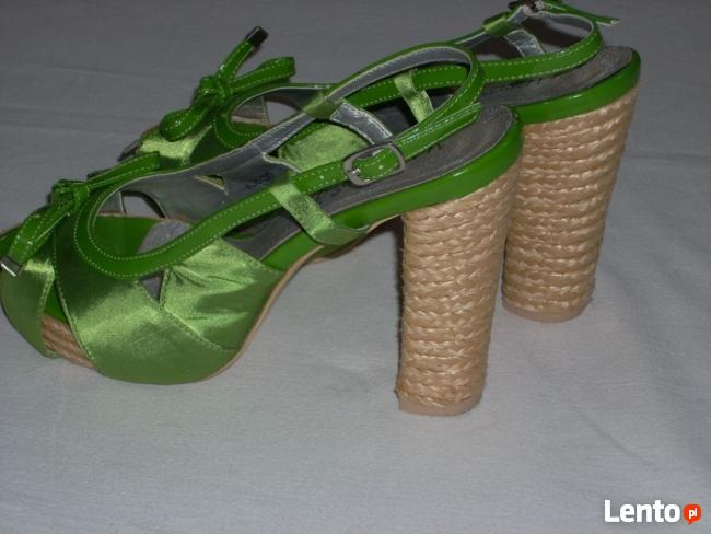 Eleganckie buciki Platforma Espadryle słupek j NOWE 36