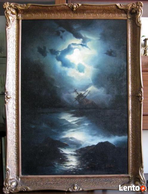 SZTORM - Marynistyczny stary obraz z ramą.