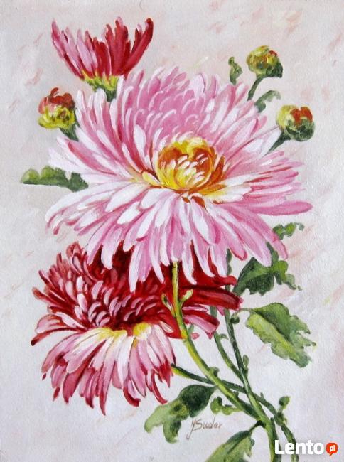 Obraz olejny - Kwiaty - CHRYZANTEMY.